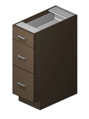 "12"" Wide Base 3 Drawer Sonoma Knight"